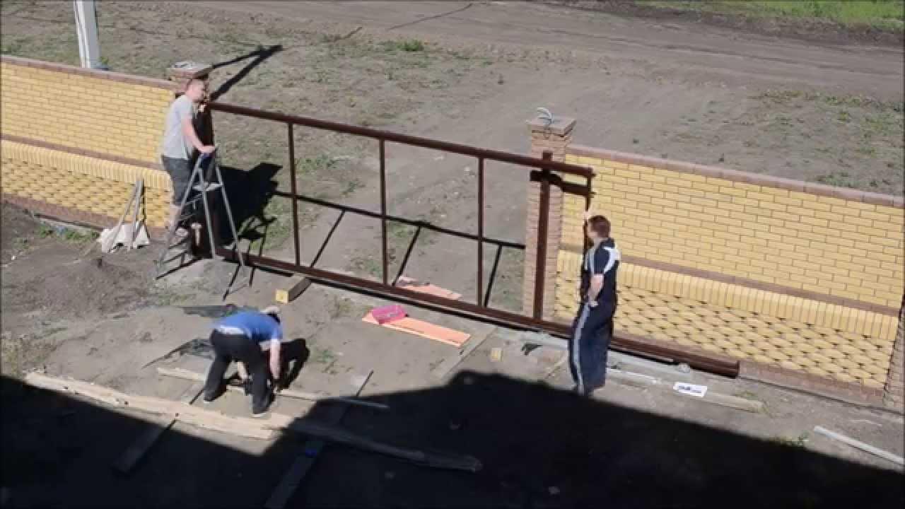 """Откатные ворота """"СОВА"""" за 2,5 часа своими руками! - YouTube"""