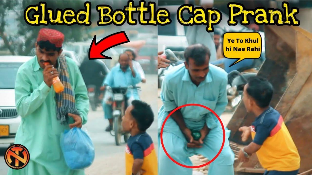 Super Glued Bottle Cap Prank - Funny Reactions   New Talent