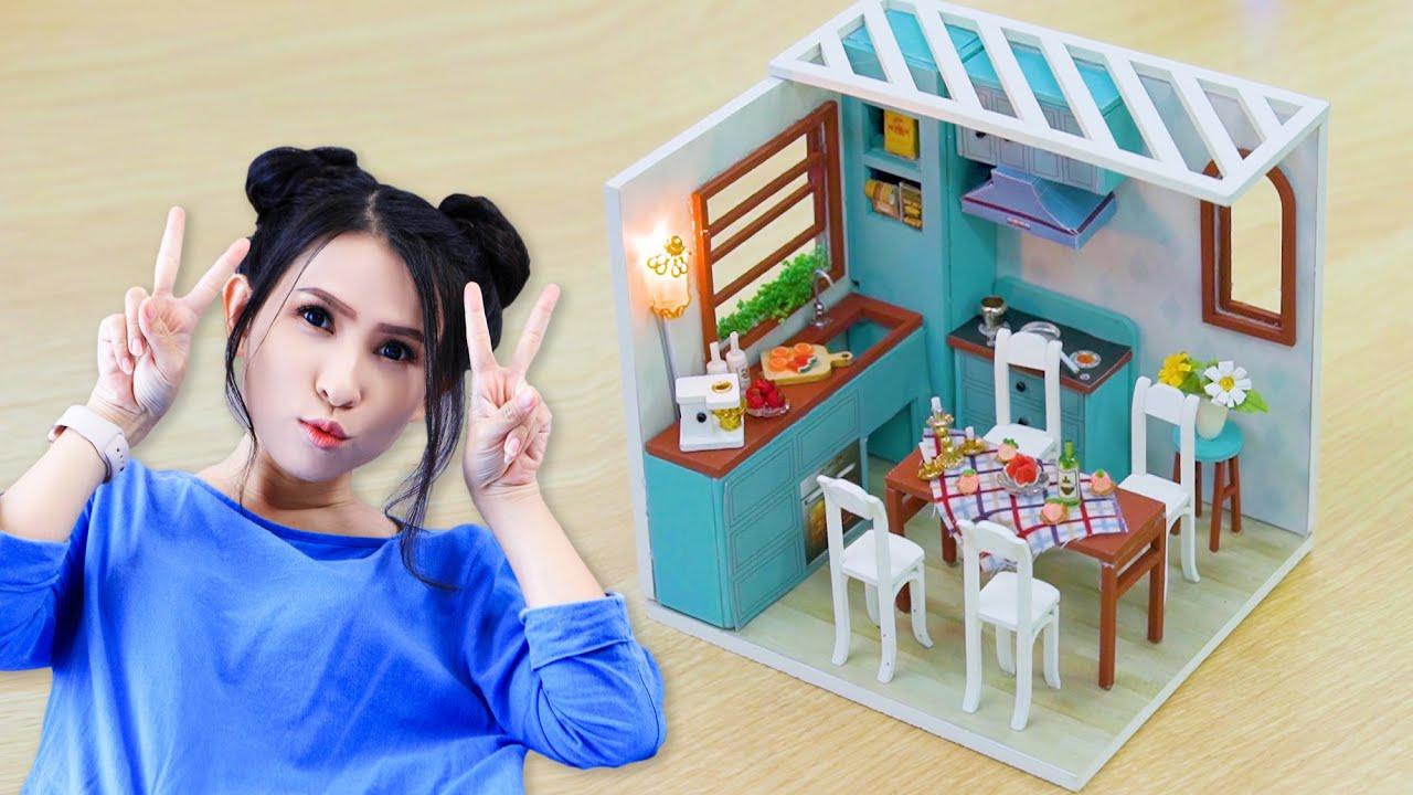 Miniature Blue Kitchen | Căn Bếp Xanh | Handmade | Thiên An Show