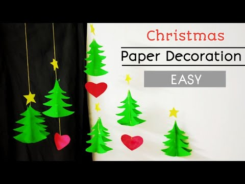 Easy Paper Christmas decoration| Christmas wall decoration ideas using paper|Wall hanging craft idea