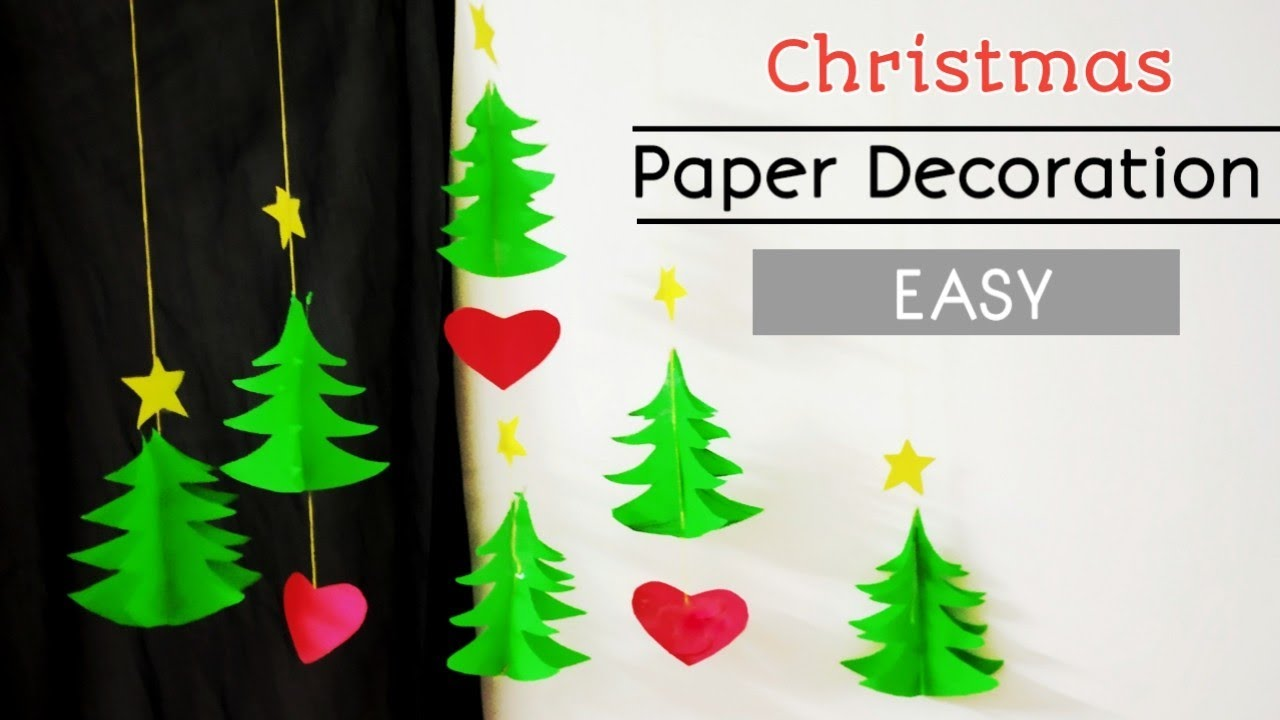 Easy Paper Christmas decoration Christmas wall decoration ideas using  paperWall hanging craft idea