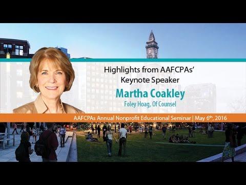 AAFCPAs Nonprofit Seminar 2016 - Martha Coakley Keynote