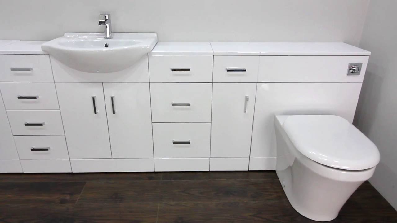 high gloss white fitted bathroom furniture youtube. Black Bedroom Furniture Sets. Home Design Ideas