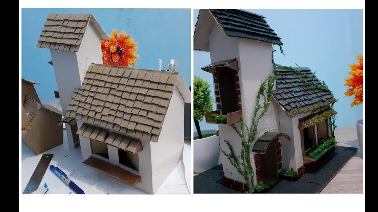 Miniatur Rumah Tua dari Bahan Karton dan kardus bekas