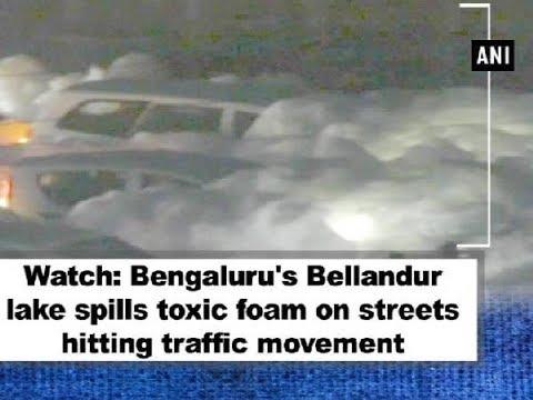 Watch: Bengaluru's Varthur lake spills toxic foam on streets hitting traffic movement