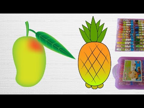 how-to-draw-and-color-fruits||mango-and-pineapple-coloring||fruits-colors-pages-for-kids|