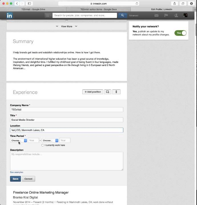 how to add more work experience on linkedin