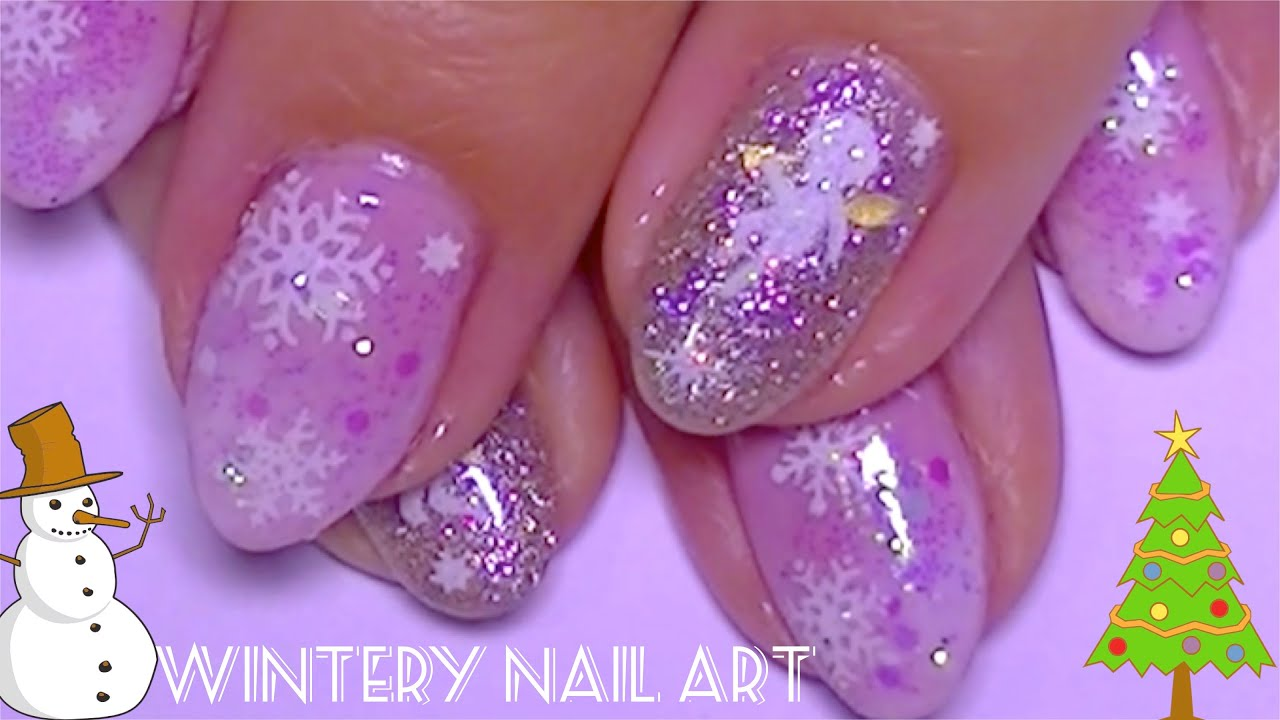 Easy Holiday Nail Art Christmas Gel And Stickers Nails Youtube