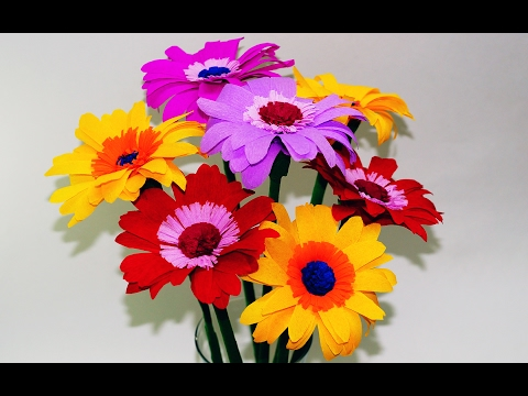 Easy Flowers making. How to Make Gerbera Tissue Paper. Crepe paper flower making. Julia DIY
