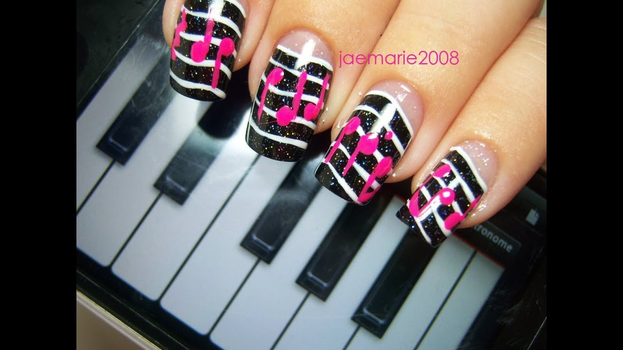 - Music Notes Nail Design-Requested - YouTube
