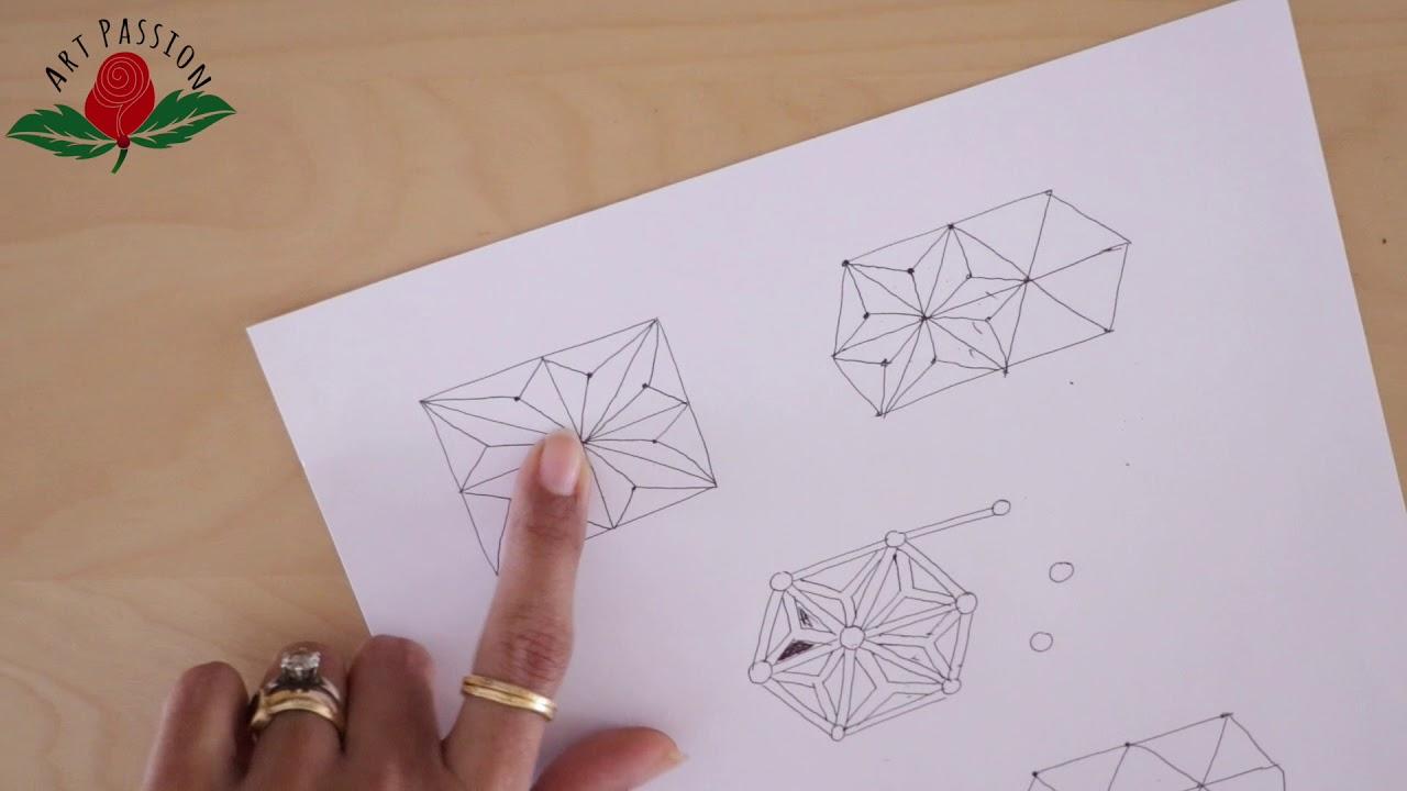 How To Draw Geometrical Hemp Leaf Pattern With Mehendi Art Hindi