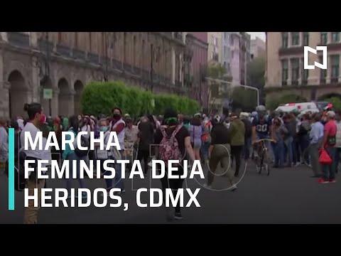 Marcha feminista en el Centro Histórico de la CDMX