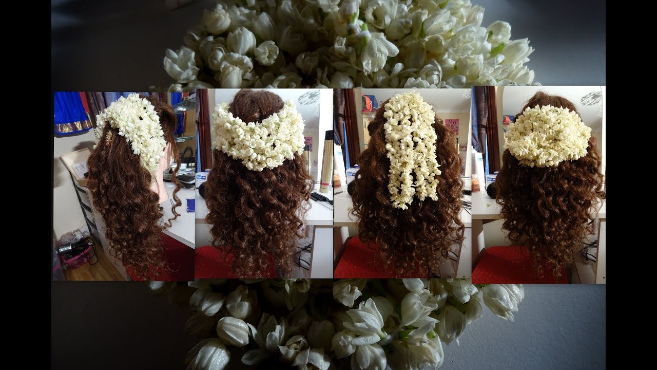 Easy hairstyles with jasmine flowers for Tamil bridemaids - YouTube