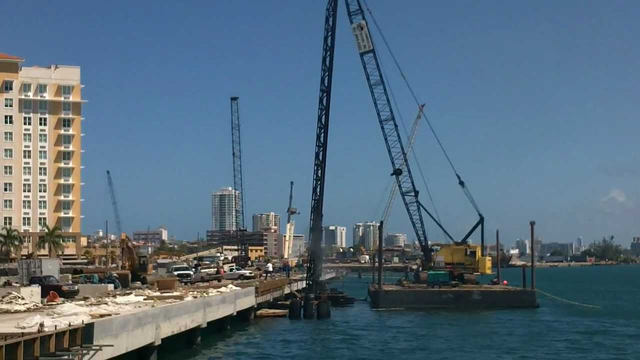 Pile Driving Sea Wall Driving Youtube