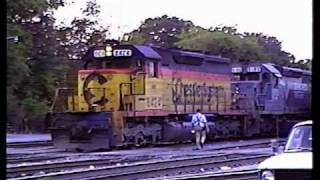 Chessie System SD40 leading a nice consist at Spartanburg, SC (1988)