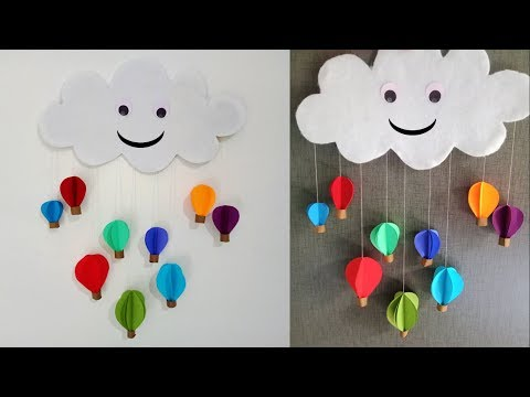 Wall hanging paper air hot balloon - DIY easy wall hanging art tutorial - Wall decoration ideas