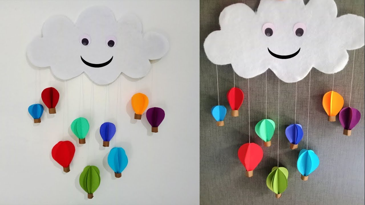 Wall Hanging Paper Air Hot Balloon Diy Easy Art Tutorial Decoration Ideas