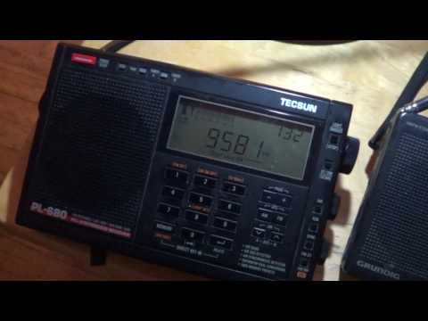 Grundig G5 VS Tecsun PL 680 on China Radio International via Cuba 9580 Khz Shortwave