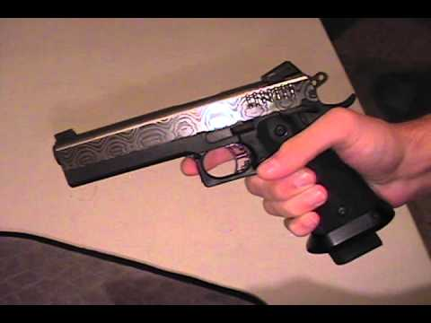 Custom 1911 Caspian Damascus 45 Slide STI 2011 Frame Colt type - YouTube