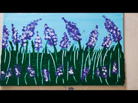 How to paint Lavender Flower Field /Demo /Acrylic Technique on canvas/Lavender Flower/Beautiful