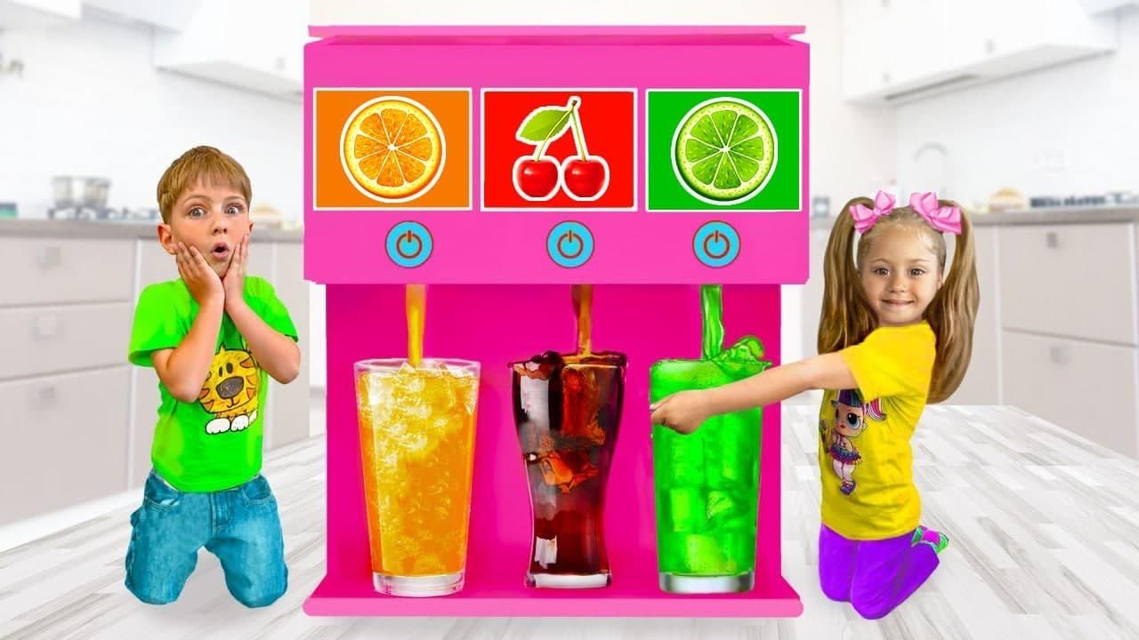 يستمتع ساشا وأصدقاؤه باللعب بآلات الألعاب العملاقة بالحلوى والمشروبات