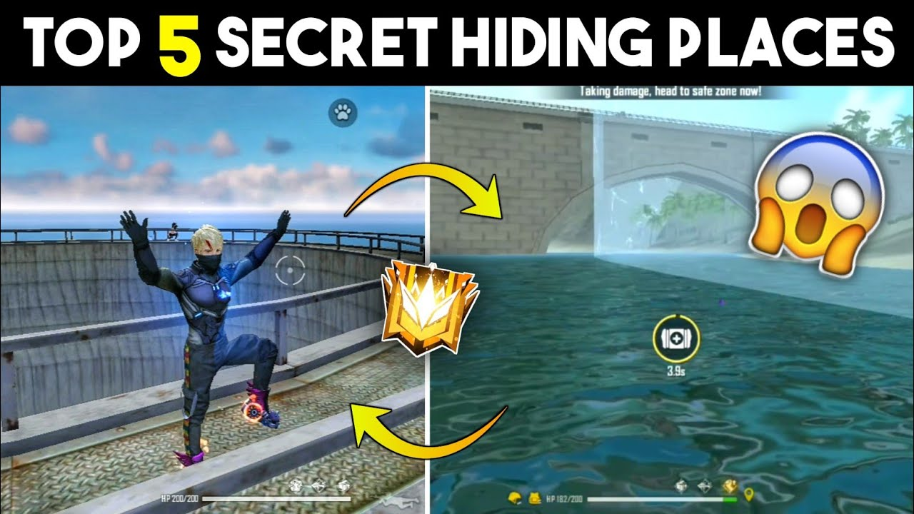 TOP 5 SECRET HIDING PLACES IN FREE FIRE 2021 || TOP 5 HIDING PLACES - GARENA FREE FIRE