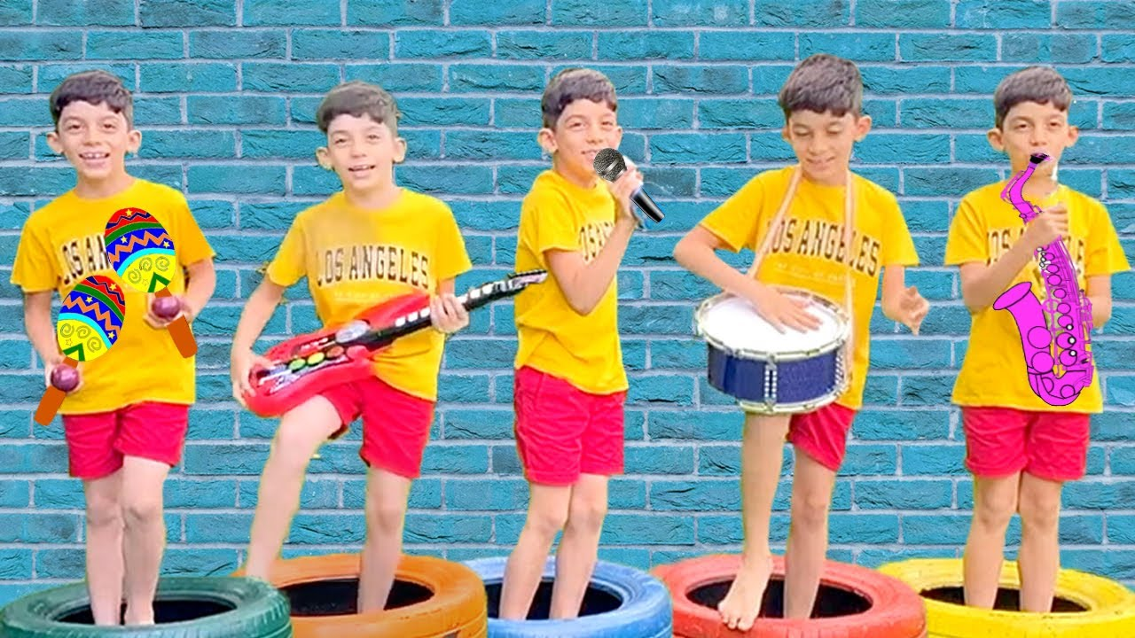 Jason plays music toys & start band for kids songs