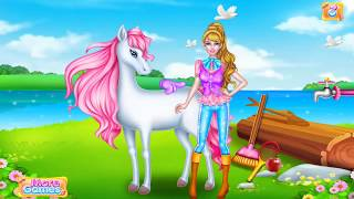 Amazing girl give foods to her horse, How to take care your horse at home for children