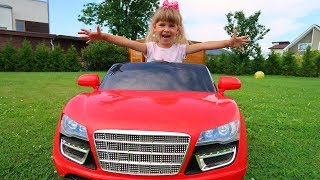 Arina play SALE TOY CARS in the garden and Ride on Power Wheels