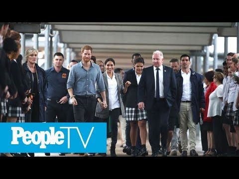 Meghan Markle Holds On Tight To Prince Harry As They Meet Students On Dubbo Trip   PeopleTV