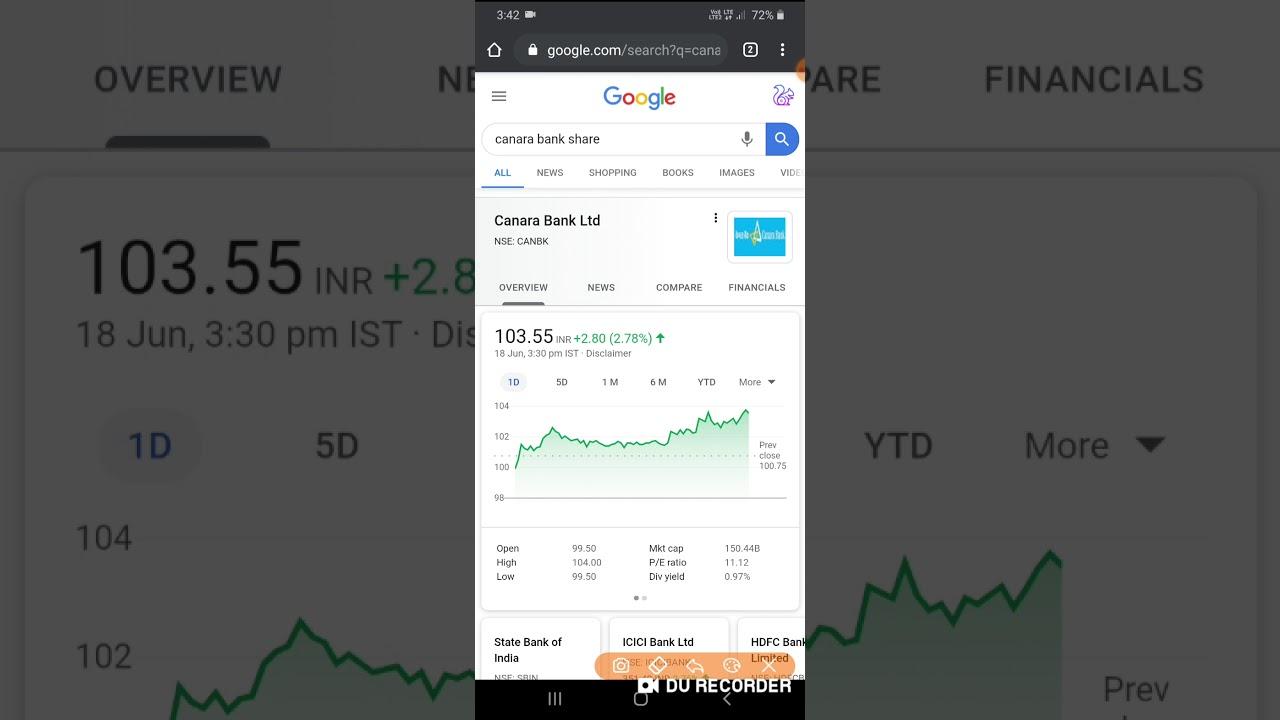 Canara Bank Share Live intraday trading 18/06/2020 | canara bank today share price