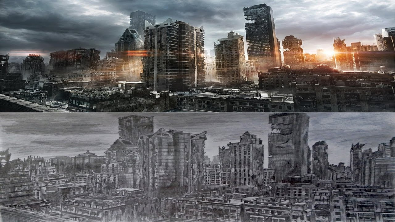 how to draw a post apocalyptic city