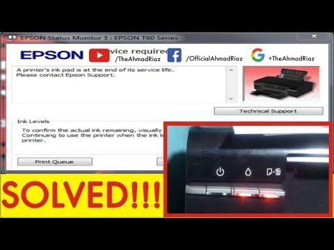 Epson T60/T50  Error A printer's ink pad is at the end of its service iife. SOLVED!!! Easy Steps