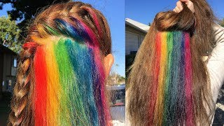 Secretly dye your hair! - Hidden Rainbow Hair Tutorial