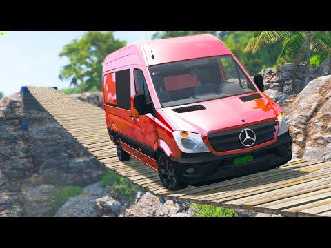 Cars vs Suspension Bridge #4 - BeamNG Drive   CRASHdriven  