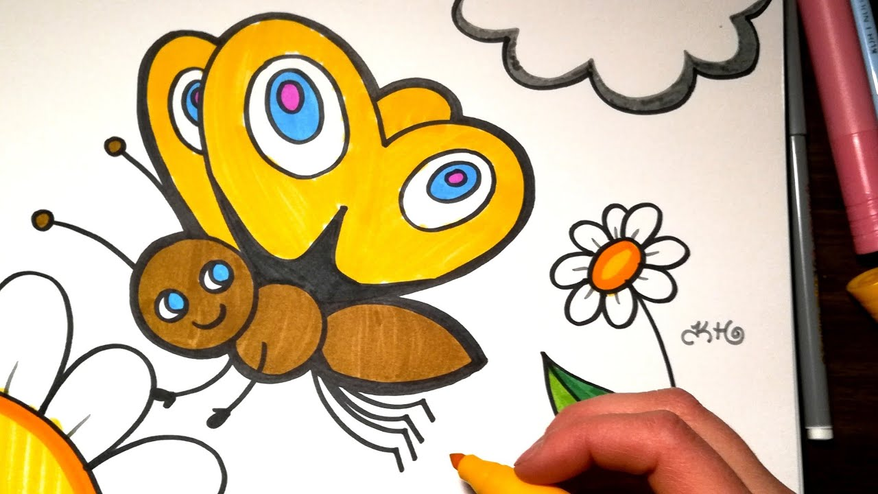 HOW TO DRAW a Butterfly - Coloring with Markers