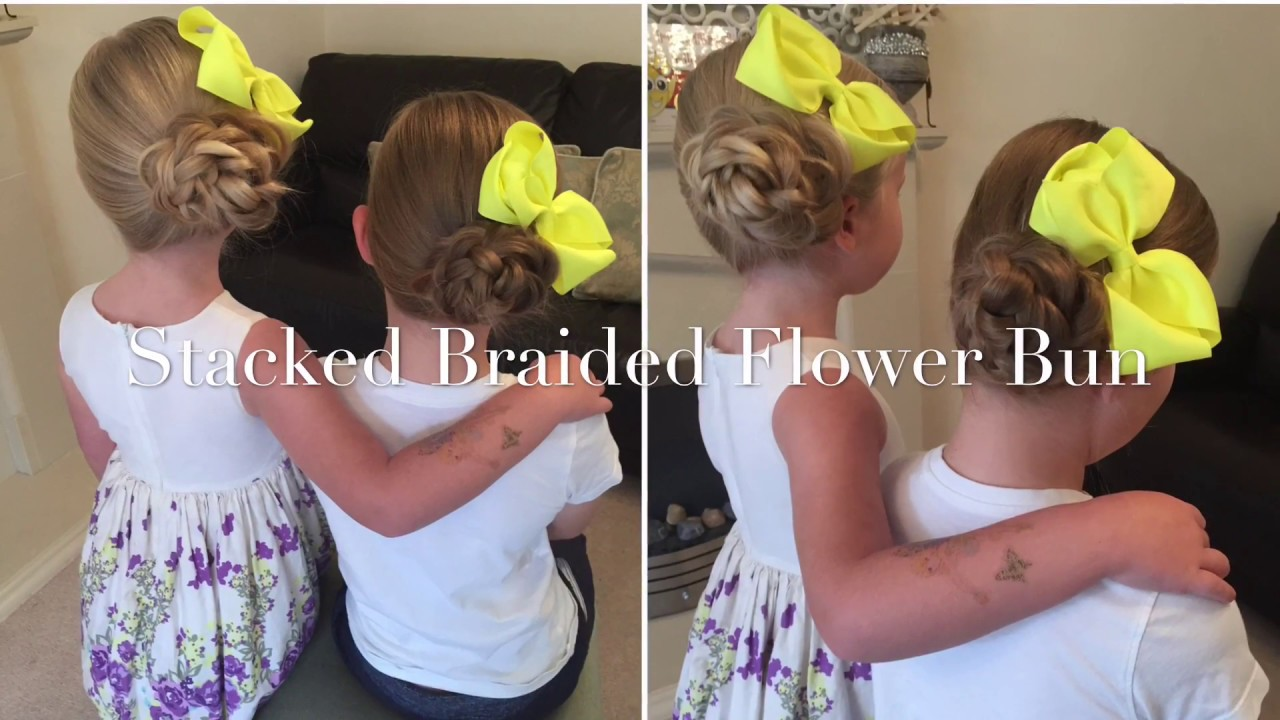 Stacked Flower Bun Updo Hair Tutorial By Two Little Girls Hairstyles