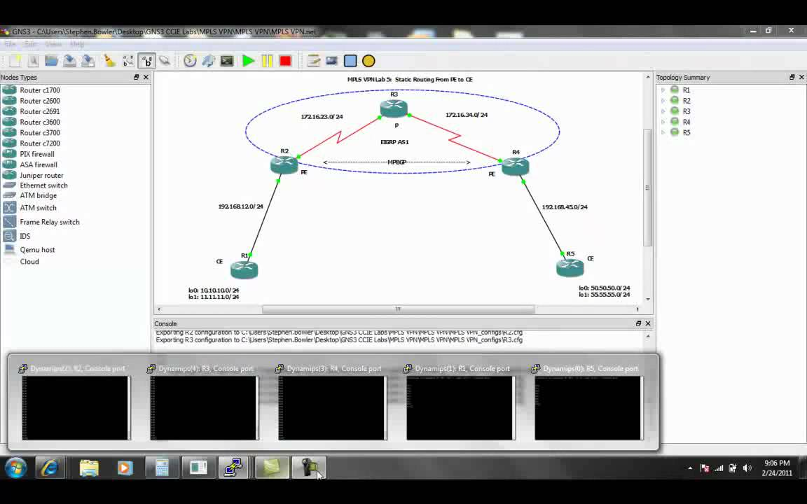 MPLS VPN Lab 5 Static Routing PE to CE