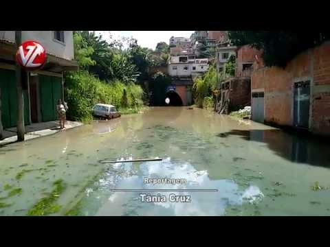 Rua do Bairro Água Limpa em Volta Redonda está alagada