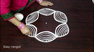 creative rangoli designs with 5x3 dots || kolam designs with dots || easy muggulu designs