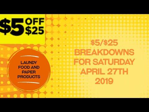 Dollar General $5/$25 breakdowns for Saturday April 27th 2019