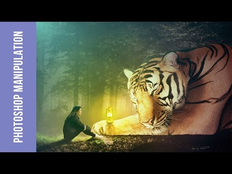 Photoshop CS6 Tutorials for Beginners | Photoshop Manipulation Tutorial | Girl and Tiger
