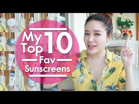 FAVORITE || My Top 10 Fav Sunscreen กันแดดที่ชอบมากที่สุด || NinaBeautyWorld - วันที่ 07 May 2018
