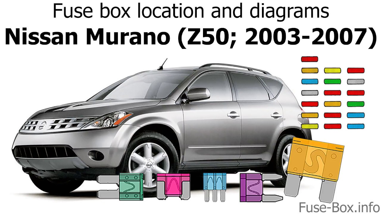 fuse box location and diagrams nissan murano z50 2003 2007 youtube 2003 nissan murano fuse box 2003 nissan murano fuse box [ 1280 x 720 Pixel ]