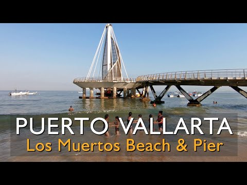 Los Muertos Beach in Puerto Vallarta from the ground and from a drone