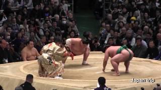 2017大相撲春場所での嘉風 vs 照ノ富士の取組。