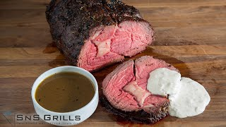 How To Cook a PERFECT Smoked PRIME RIB with Au Jus and Horseradish Cream on the SnS Kamado
