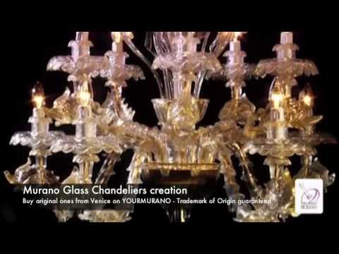 Murano Glass Chandelier - Manufacturing video in a furnace in ...