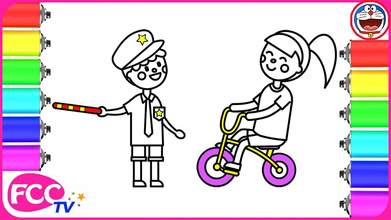 How To Draw Police Kid Coloring Pages