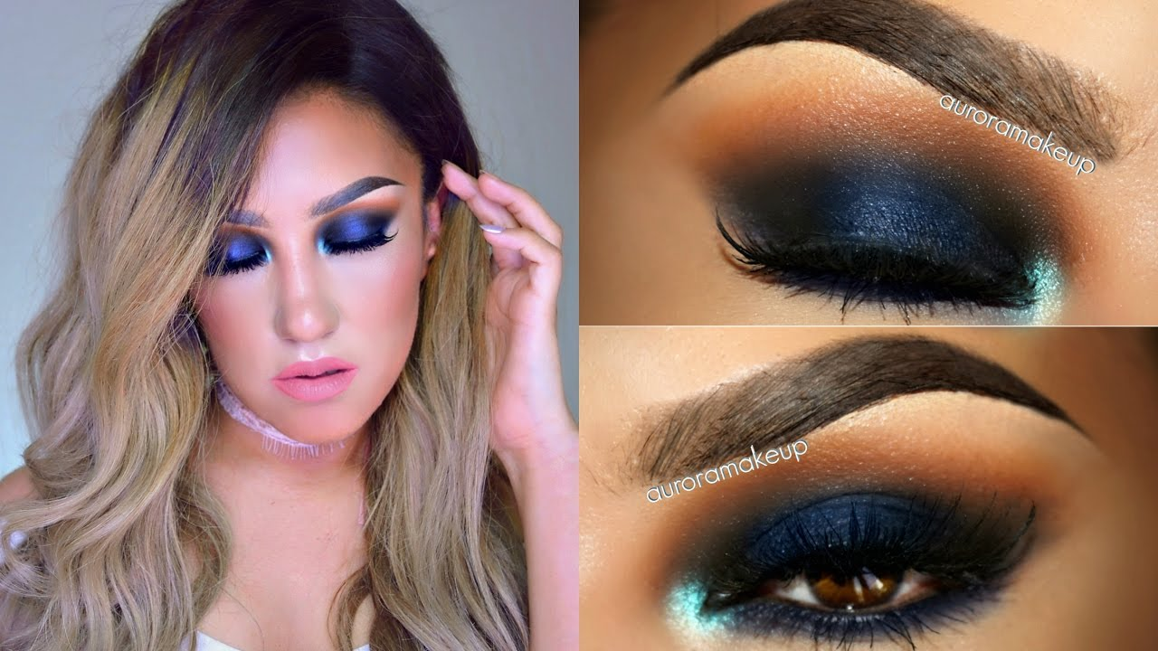 ojos ahumados en azul smokey eye in blue makeup tutorial
